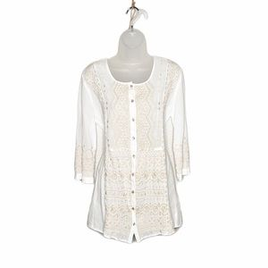 Johnny Was button down embroidered boho tunic